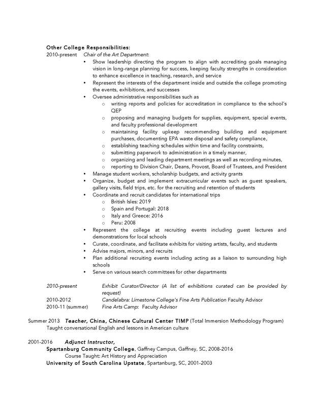 Curriculum Vitae Resume Teaching Philosophy Carolyn Ford Art